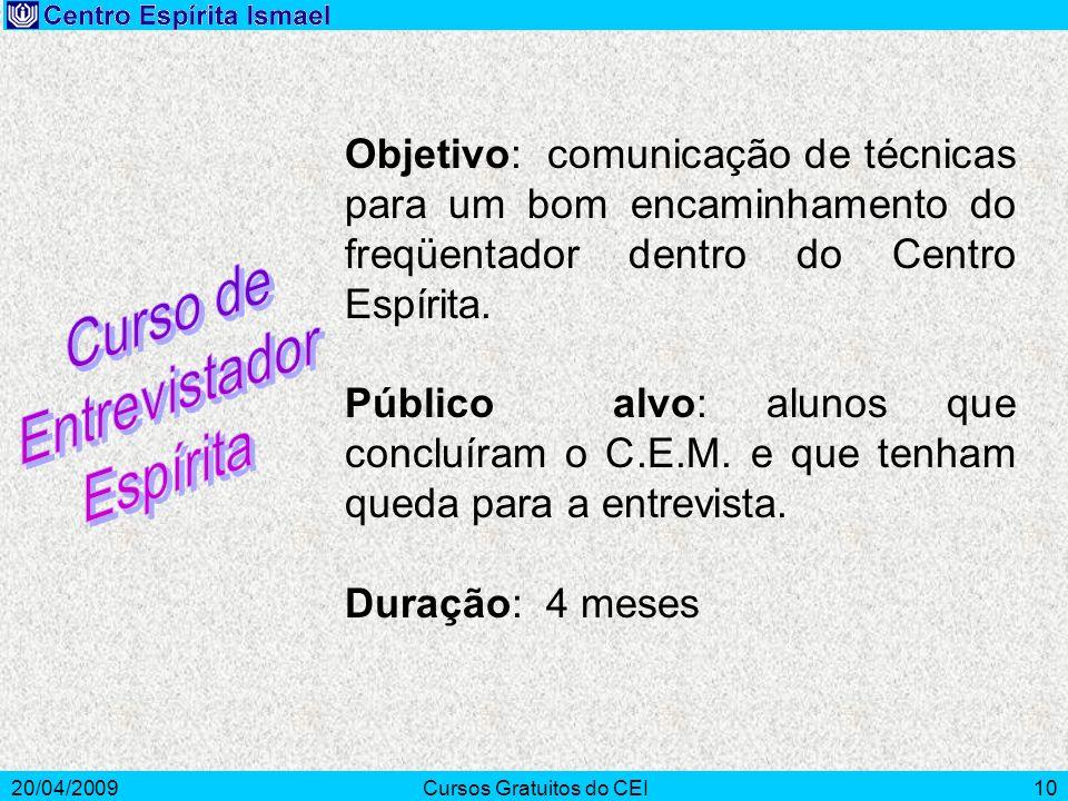 20/04/2009Cursos Gratuitos do CEI10 Objetivo: comunicação de técnicas para um bom encaminhamento do freqüentador dentro do Centro Espírita. Público al