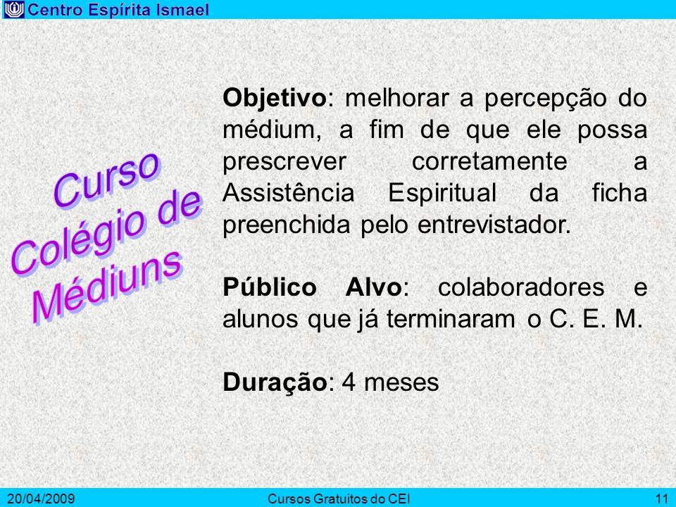 20/04/2009Cursos Gratuitos do CEI11 Objetivo: melhorar a percepção do médium, a fim de que ele possa prescrever corretamente a Assistência Espiritual