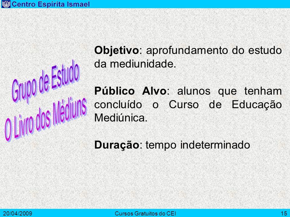 20/04/2009Cursos Gratuitos do CEI15 Objetivo: aprofundamento do estudo da mediunidade. Público Alvo: alunos que tenham concluído o Curso de Educação M