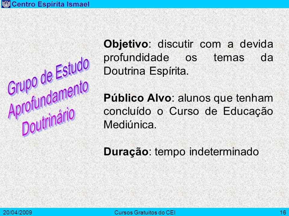 20/04/2009Cursos Gratuitos do CEI16 Objetivo: discutir com a devida profundidade os temas da Doutrina Espírita. Público Alvo: alunos que tenham conclu