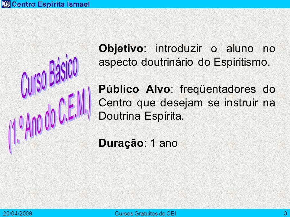 20/04/2009Cursos Gratuitos do CEI3 Objetivo: introduzir o aluno no aspecto doutrinário do Espiritismo. Público Alvo: freqüentadores do Centro que dese