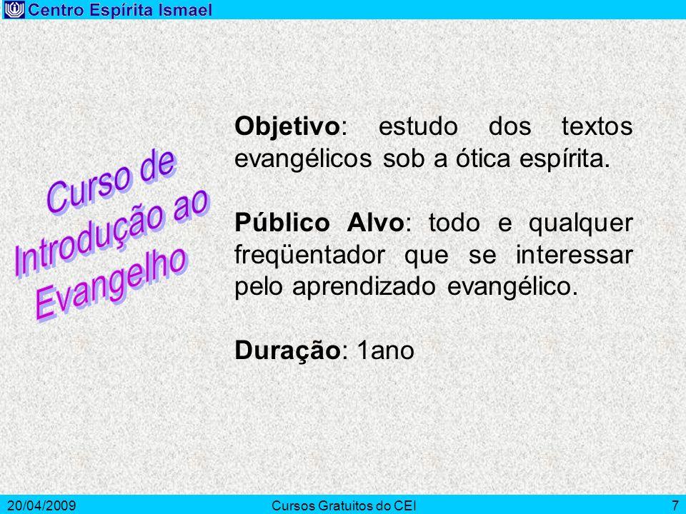 20/04/2009Cursos Gratuitos do CEI7 Objetivo: estudo dos textos evangélicos sob a ótica espírita. Público Alvo: todo e qualquer freqüentador que se int
