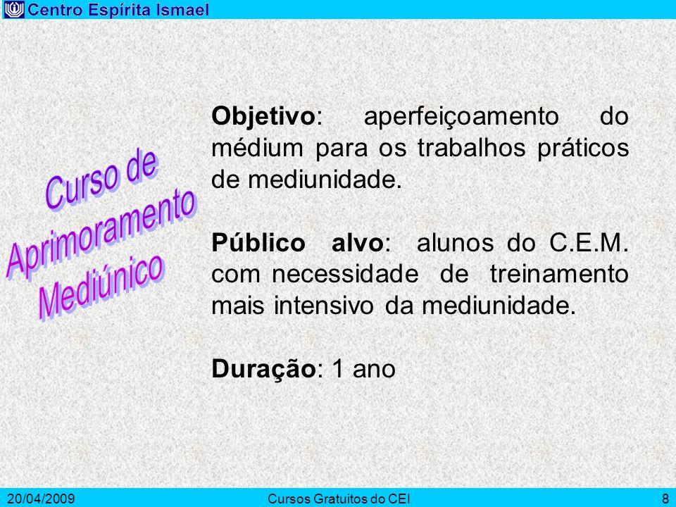 20/04/2009Cursos Gratuitos do CEI8 Objetivo: aperfeiçoamento do médium para os trabalhos práticos de mediunidade. Público alvo: alunos do C.E.M. com n