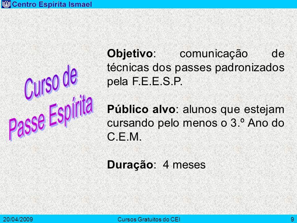 20/04/2009Cursos Gratuitos do CEI9 Objetivo: comunicação de técnicas dos passes padronizados pela F.E.E.S.P. Público alvo: alunos que estejam cursando
