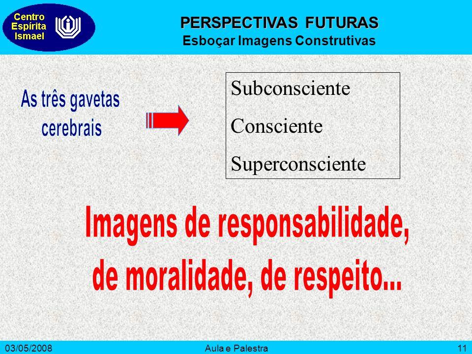 03/05/2008Aula e Palestra11 Subconsciente Consciente Superconsciente PERSPECTIVAS FUTURAS Esboçar Imagens Construtivas