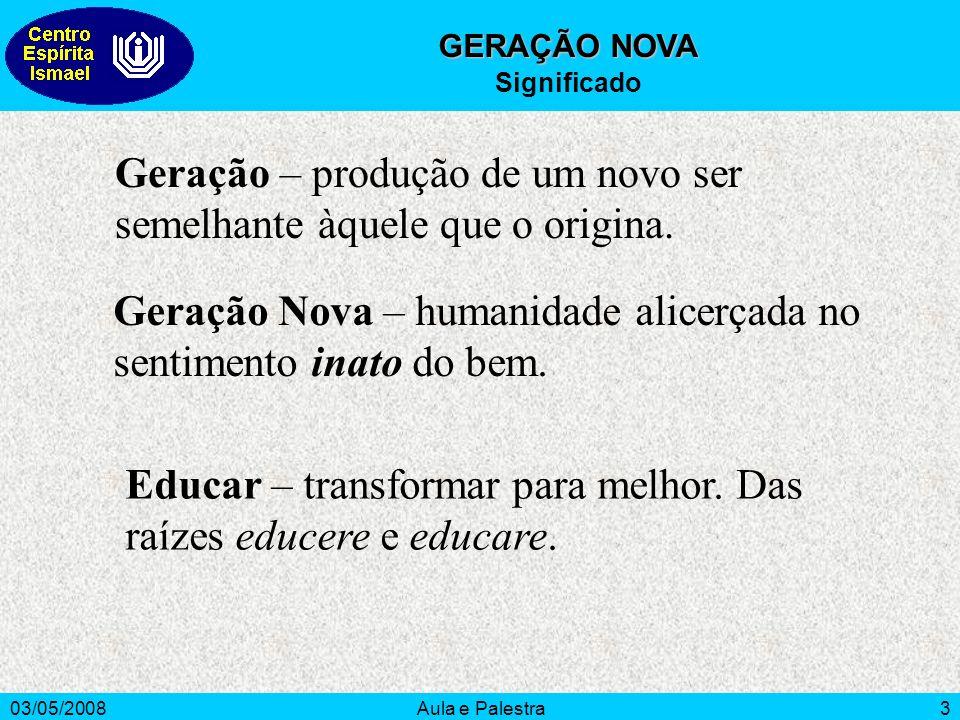03/05/2008Aula e Palestra3 GERAÇÃO NOVA Significado Geração – produção de um novo ser semelhante àquele que o origina.
