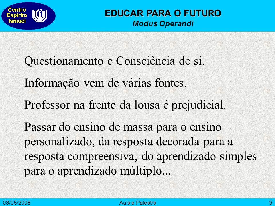 03/05/2008Aula e Palestra9 EDUCAR PARA O FUTURO Modus Operandi Questionamento e Consciência de si.