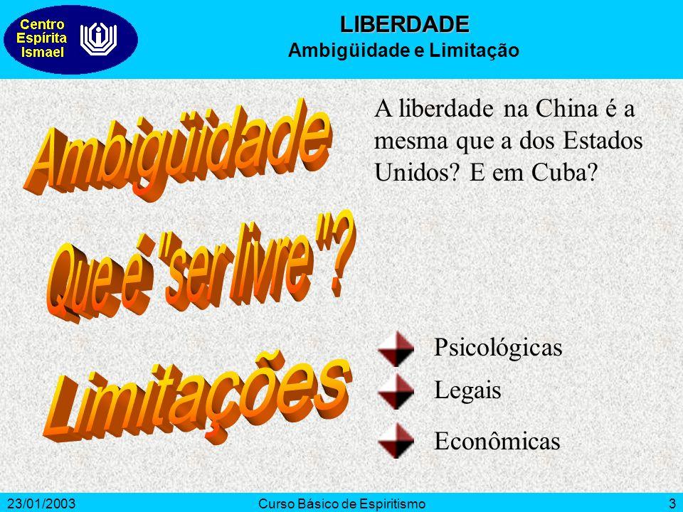 23/01/2003Curso Básico de Espiritismo3 A liberdade na China é a mesma que a dos Estados Unidos? E em Cuba? Psicológicas Legais Econômicas LIBERDADE Am