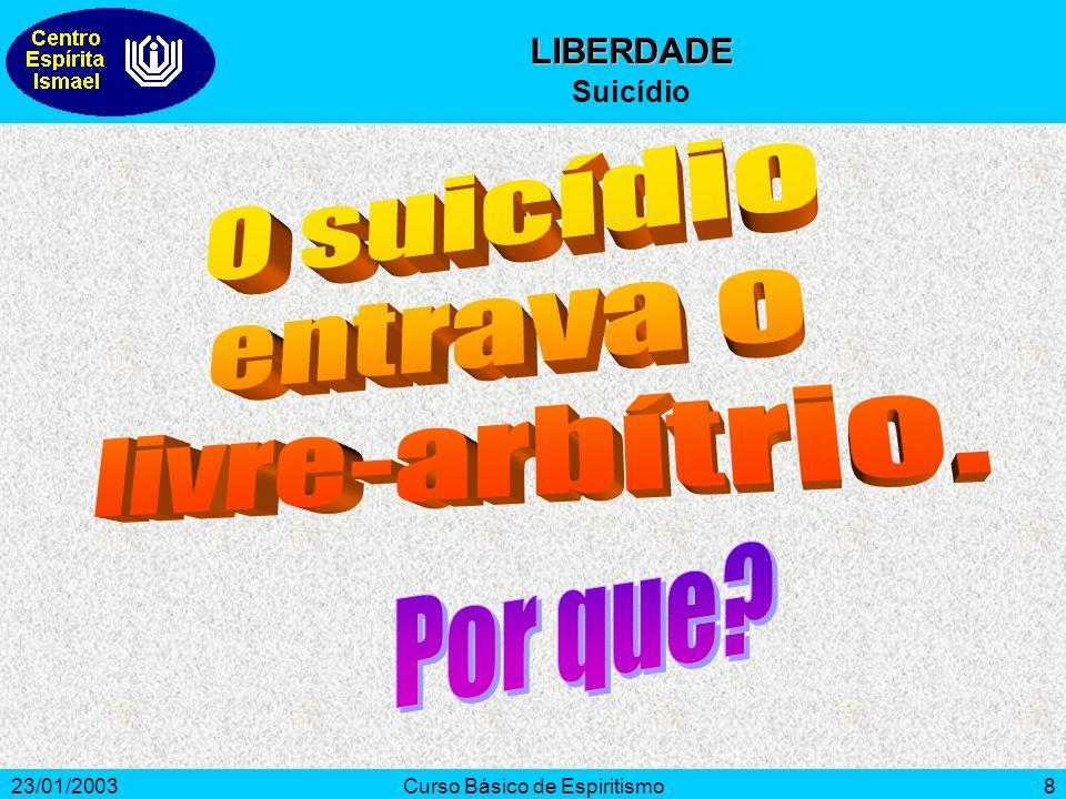 23/01/2003Curso Básico de Espiritismo8 LIBERDADE Suicídio