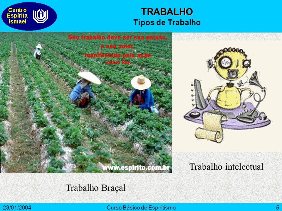 23/01/2004Curso Básico de Espiritismo5 Trabalho intelectual TRABALHO Tipos de Trabalho Trabalho Braçal
