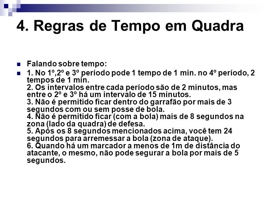 4. Regras de Tempo em Quadra Falando sobre tempo: 1. No 1º,2º e 3º período pode 1 tempo de 1 min. no 4º período, 2 tempos de 1 min. 2. Os intervalos e