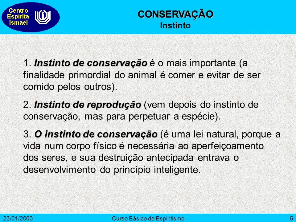 23/01/2003Curso Básico de Espiritismo5 Instinto de conservação 1. Instinto de conservação é o mais importante (a finalidade primordial do animal é com