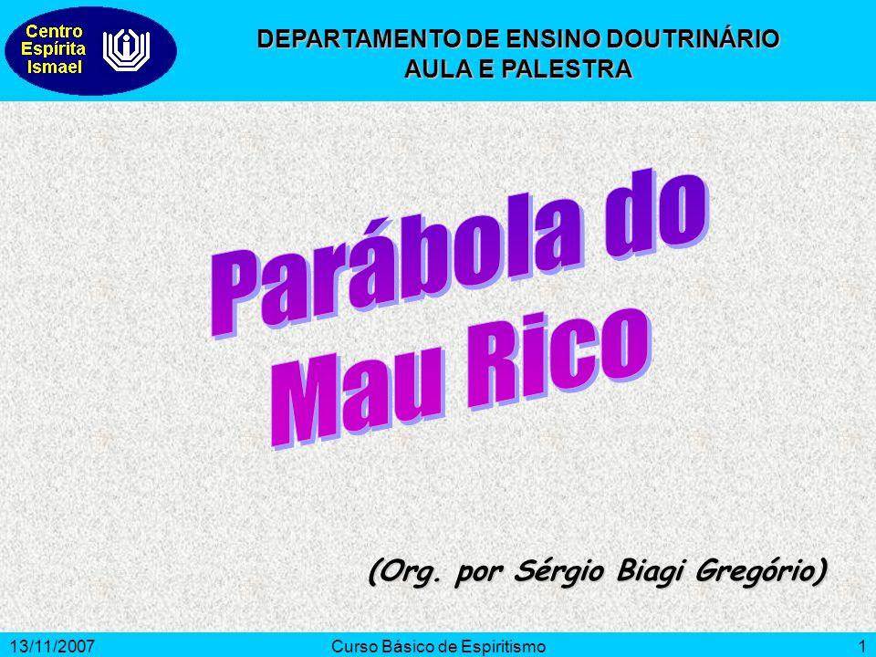 13/11/2007Curso Básico de Espiritismo1 (Org. por Sérgio Biagi Gregório) DEPARTAMENTO DE ENSINO DOUTRINÁRIO AULA E PALESTRA