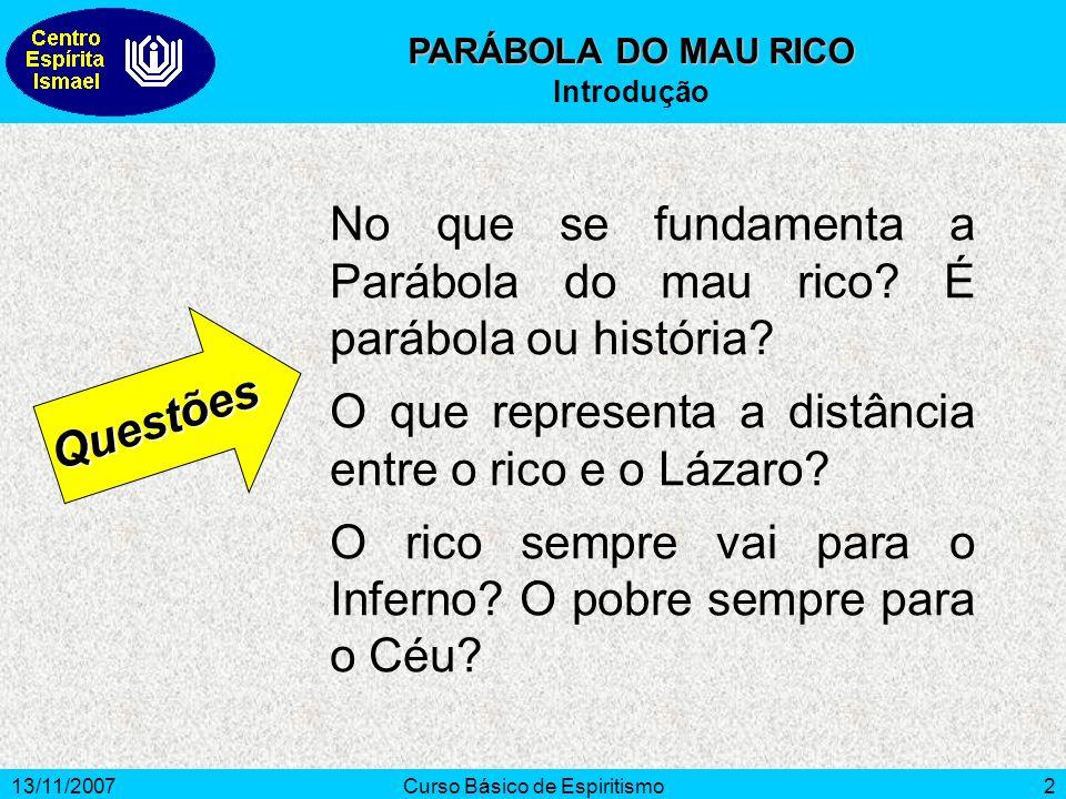 13/11/2007Curso Básico de Espiritismo2 No que se fundamenta a Parábola do mau rico.
