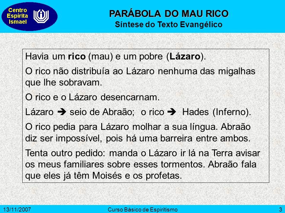 13/11/2007Curso Básico de Espiritismo3 PARÁBOLA DO MAU RICO Síntese do Texto Evangélico Havia um rico (mau) e um pobre (Lázaro).