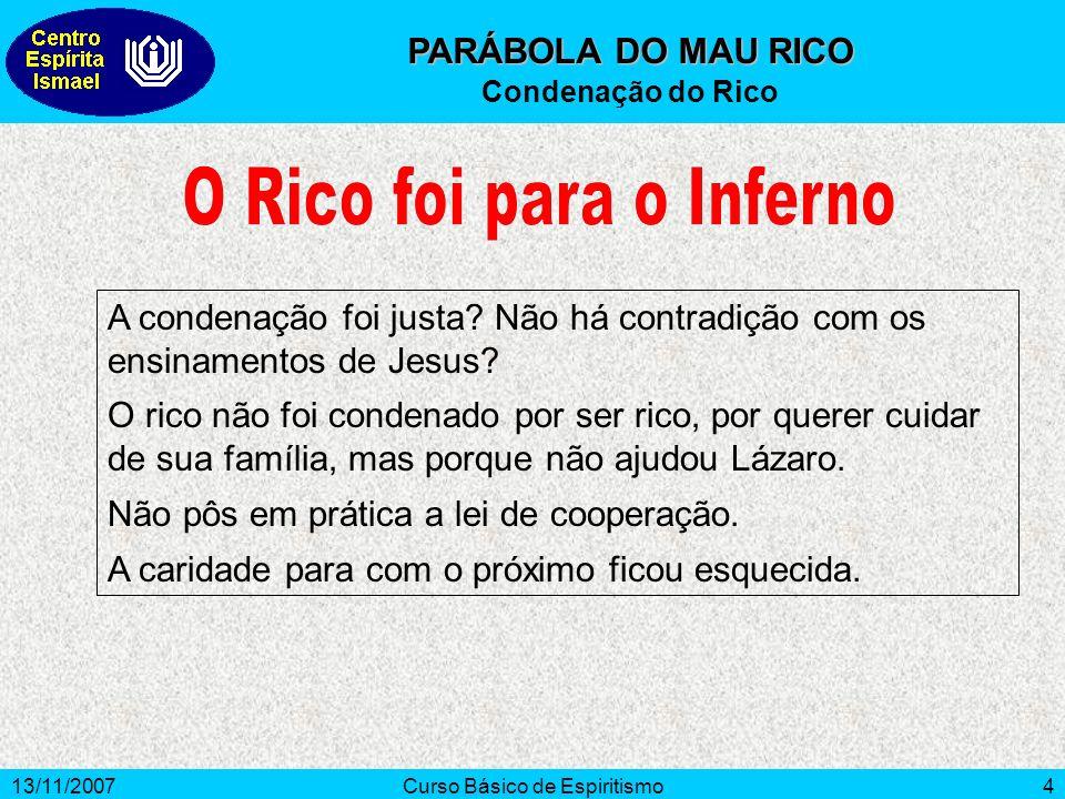 13/11/2007Curso Básico de Espiritismo4 PARÁBOLA DO MAU RICO Condenação do Rico A condenação foi justa.