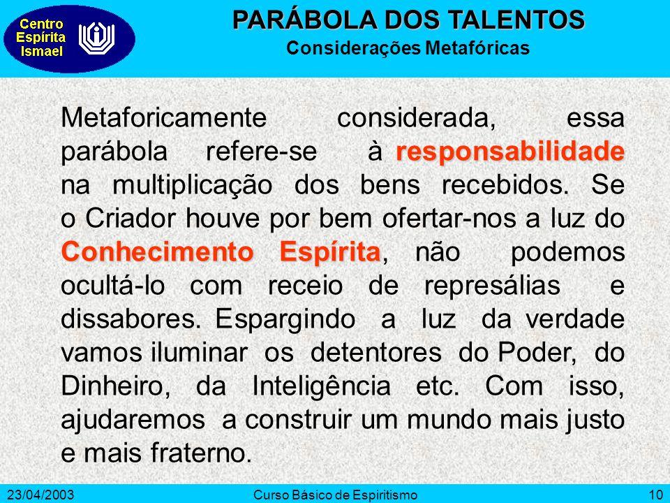 23/04/2003Curso Básico de Espiritismo10 responsabilidade Conhecimento Espírita Metaforicamente considerada, essa parábola refere-se à responsabilidade