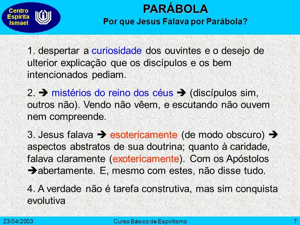 23/04/2003Curso Básico de Espiritismo7 1. despertar a curiosidade dos ouvintes e o desejo de ulterior explicação que os discípulos e os bem intenciona