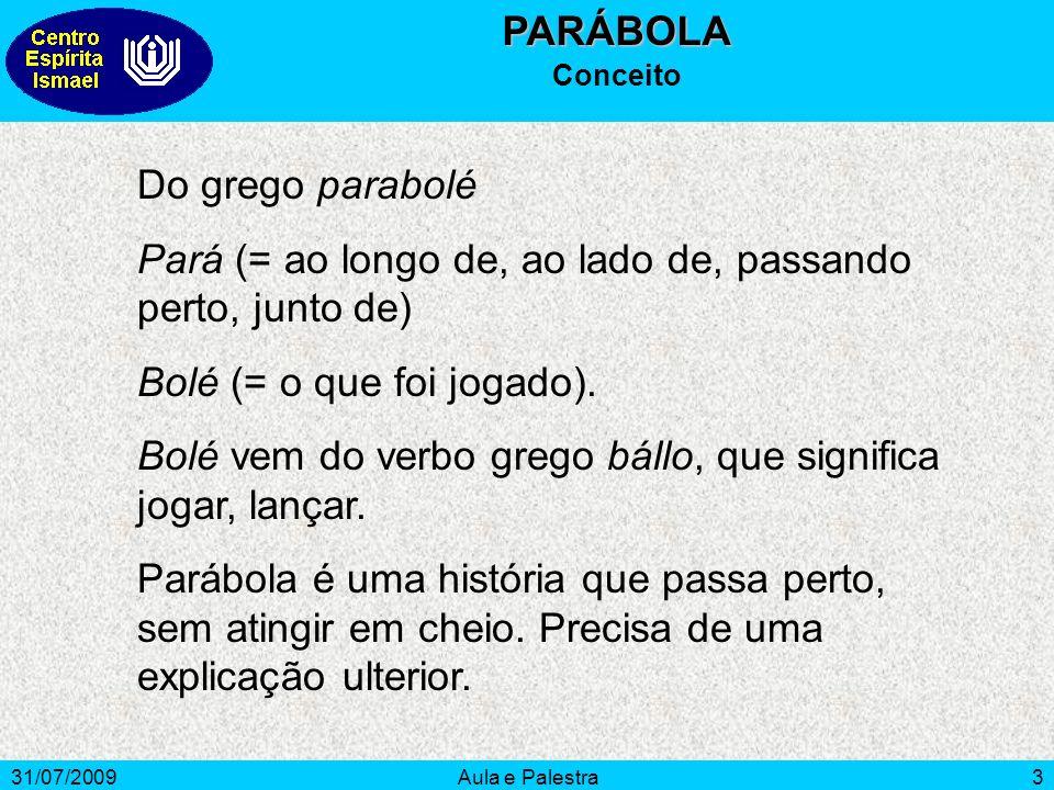 31/07/2009Aula e Palestra3PARÁBOLA Conceito Do grego parabolé Pará (= ao longo de, ao lado de, passando perto, junto de) Bolé (= o que foi jogado). Bo