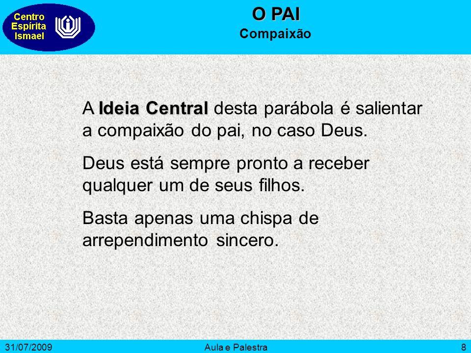31/07/2009Aula e Palestra8 O PAI Compaixão Ideia Central A Ideia Central desta parábola é salientar a compaixão do pai, no caso Deus. Deus está sempre