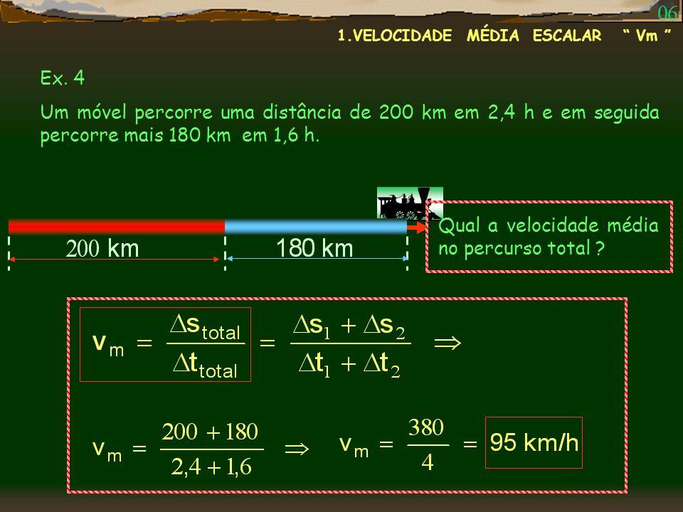 Ex. 4 Um móvel percorre uma distância de 200 km em 2,4 h e em seguida percorre mais 180 km em 1,6 h. Qual a velocidade média no percurso total ? 1.VEL