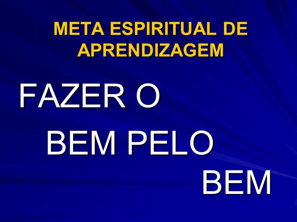META ESPIRITUAL DE APRENDIZAGEM FAZER O BEM PELO BEM BEM PELO BEM