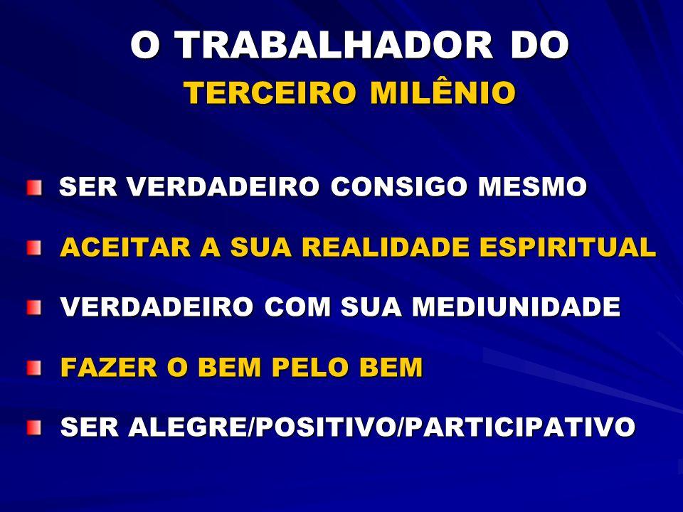 O TRABALHADOR DO TERCEIRO MILÊNIO SER VERDADEIRO CONSIGO MESMO SER VERDADEIRO CONSIGO MESMO ACEITAR A SUA REALIDADE ESPIRITUAL ACEITAR A SUA REALIDADE