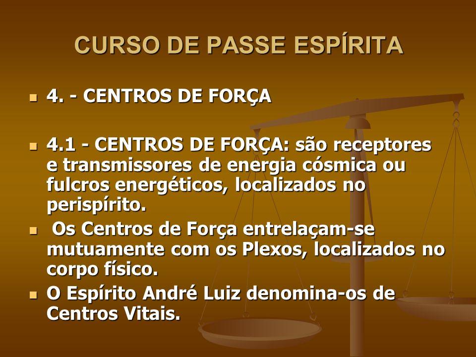 CURSO DE PASSE ESPÍRITA 4. - CENTROS DE FORÇA 4. - CENTROS DE FORÇA 4.1 - CENTROS DE FORÇA: são receptores e transmissores de energia cósmica ou fulcr