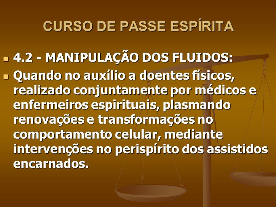CURSO DE PASSE ESPÍRITA 4.2 - MANIPULAÇÃO DOS FLUIDOS: 4.2 - MANIPULAÇÃO DOS FLUIDOS: Quando no auxílio a doentes físicos, realizado conjuntamente por