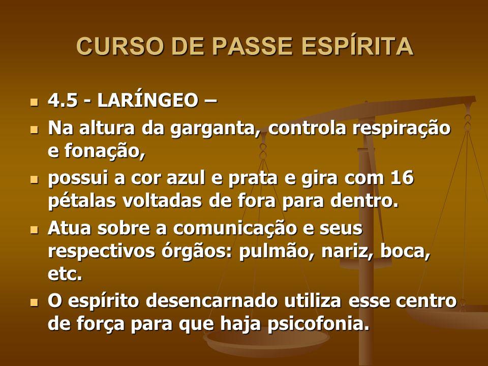 CURSO DE PASSE ESPÍRITA 4.5 - LARÍNGEO – 4.5 - LARÍNGEO – Na altura da garganta, controla respiração e fonação, Na altura da garganta, controla respir