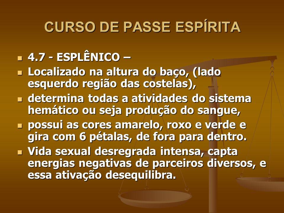 CURSO DE PASSE ESPÍRITA 4.7 - ESPLÊNICO – 4.7 - ESPLÊNICO – Localizado na altura do baço, (lado esquerdo região das costelas), Localizado na altura do