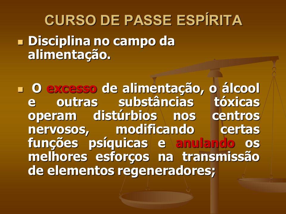 CURSO DE PASSE ESPÍRITA Disciplina no campo da alimentação.