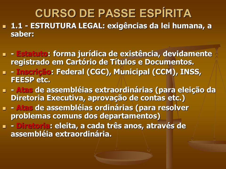 CURSO DE PASSE ESPÍRITA 1.1 - ESTRUTURA LEGAL: exigências da lei humana, a saber: 1.1 - ESTRUTURA LEGAL: exigências da lei humana, a saber: - Estatuto: forma jurídica de existência, devidamente registrado em Cartório de Títulos e Documentos.