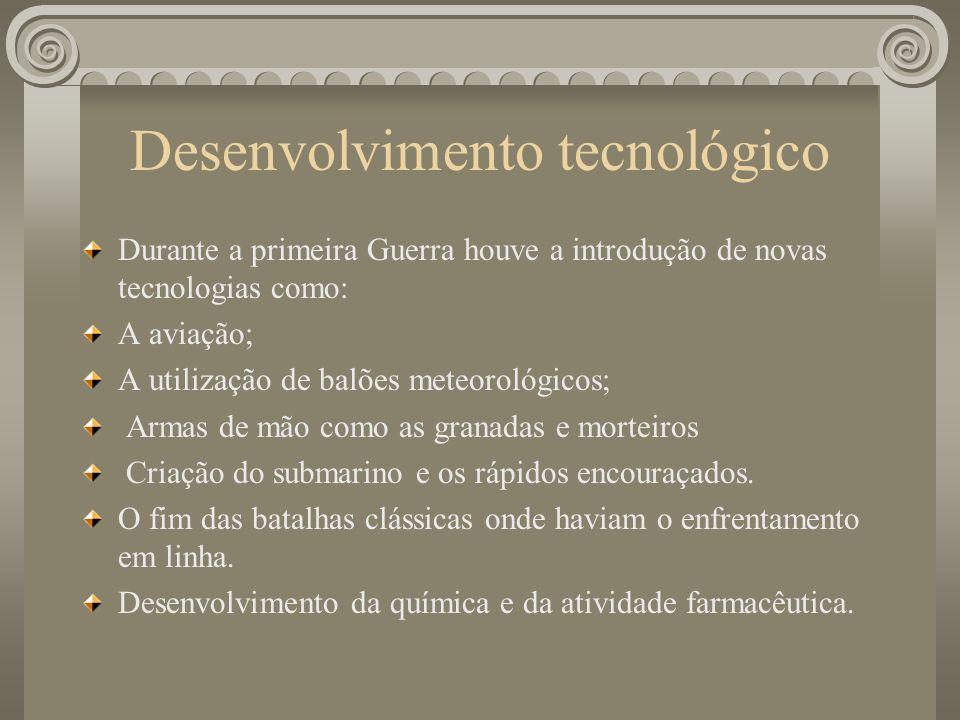 Desenvolvimento tecnológico Durante a primeira Guerra houve a introdução de novas tecnologias como: A aviação; A utilização de balões meteorológicos; Armas de mão como as granadas e morteiros Criação do submarino e os rápidos encouraçados.