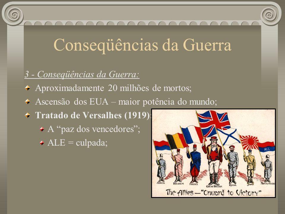 Conseqüências da Guerra 3 - Conseqüências da Guerra: Aproximadamente 20 milhões de mortos; Ascensão dos EUA – maior potência do mundo; Tratado de Versalhes (1919): A paz dos vencedores; ALE = culpada;
