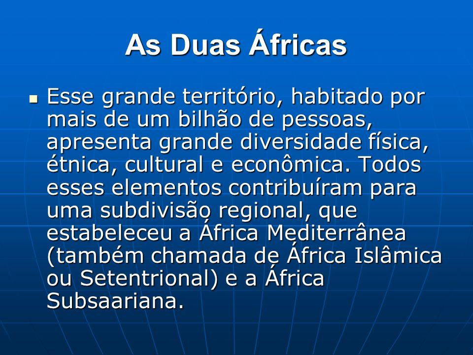 Essa regionalização do continente tem o deserto do Saara como divisor natural e os aspectos humanos, em especial a religião, como fator cultural.