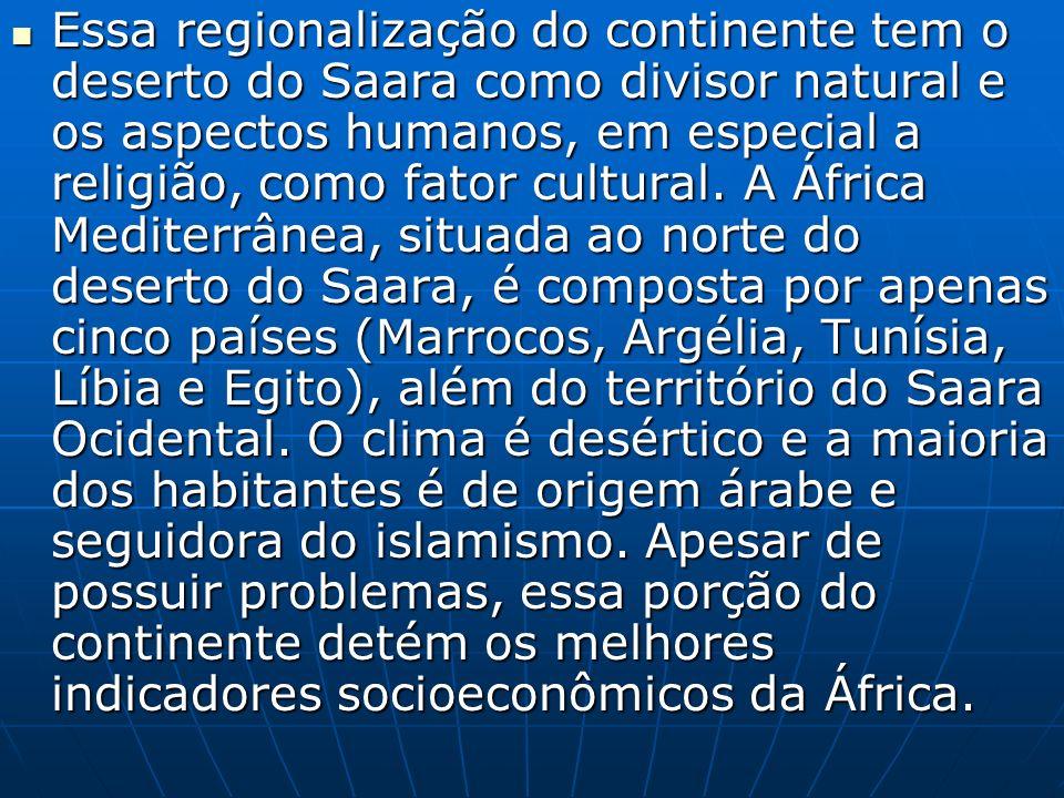 Já a África Subsaariana, compreende toda a área localizada ao sul do Saara, correspondendo a mais de 75% do continente.