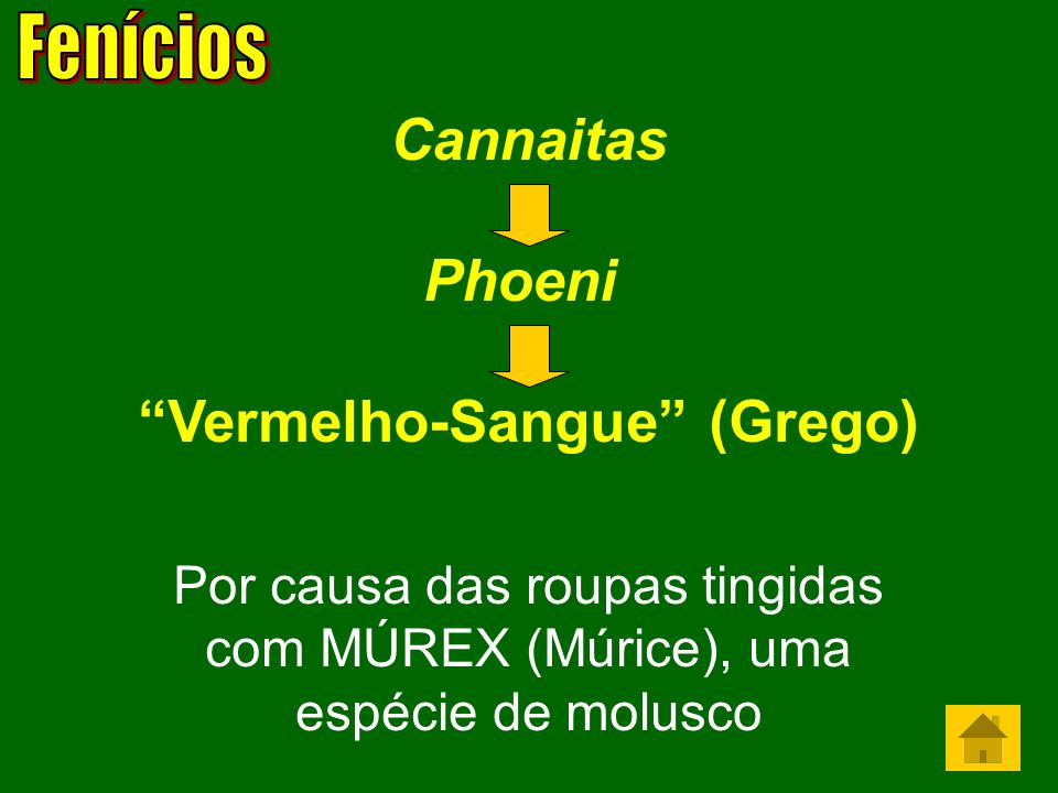 Cannaitas Phoeni Vermelho-Sangue (Grego) Por causa das roupas tingidas com MÚREX (Múrice), uma espécie de molusco