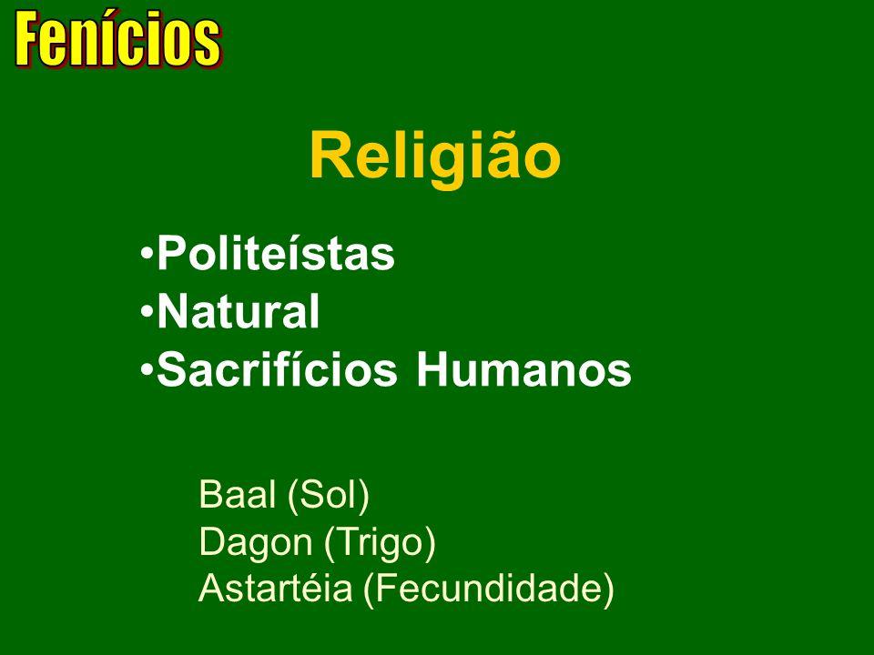 Religião Politeístas Natural Sacrifícios Humanos Baal (Sol) Dagon (Trigo) Astartéia (Fecundidade)