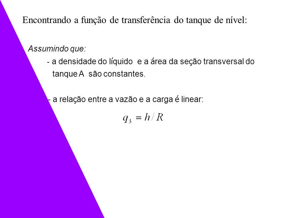 Encontrando a função de transferência do tanque de nível: Assumindo que: - a densidade do l í quido e a á rea da se ç ão transversal do tanque A são c