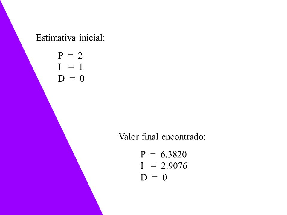 Estimativa inicial: P = 2 I = 1 D = 0 Valor final encontrado: P = 6.3820 I = 2.9076 D = 0