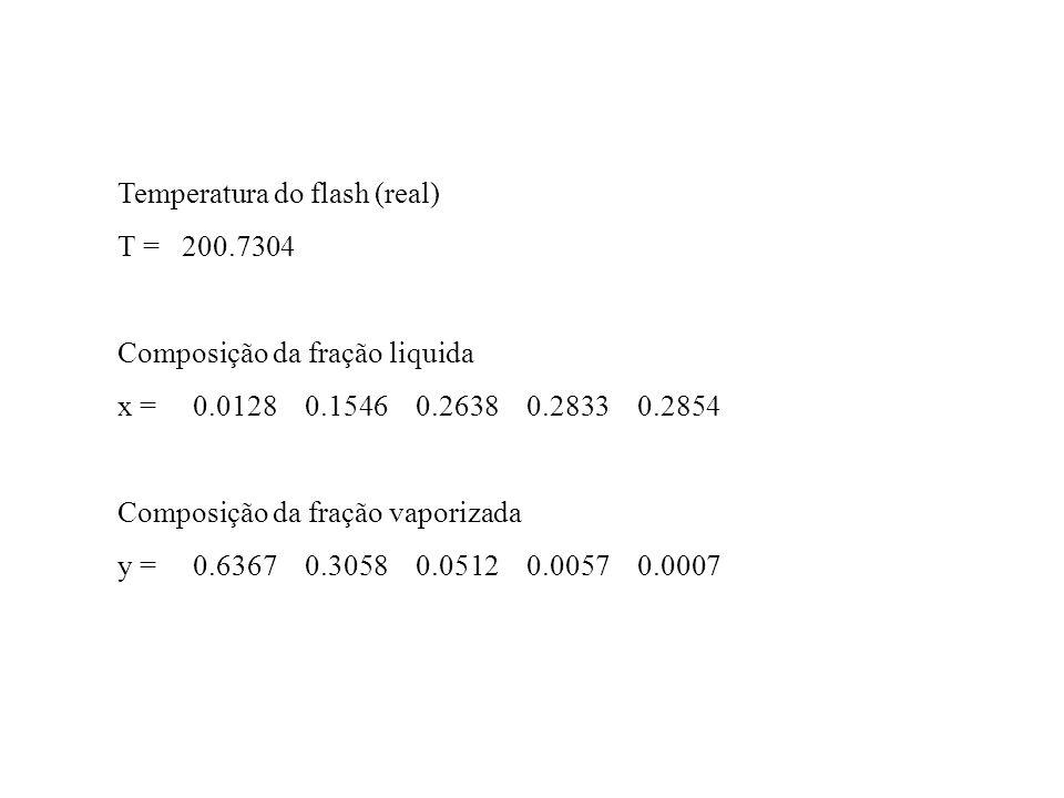 Temperatura do flash (real) T = 200.7304 Composição da fração liquida x = 0.0128 0.1546 0.2638 0.2833 0.2854 Composição da fração vaporizada y = 0.636