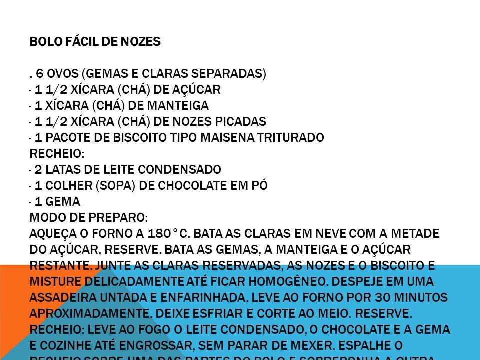 BOLO FÁCIL DE NOZES. 6 OVOS (GEMAS E CLARAS SEPARADAS) · 1 1/2 XÍCARA (CHÁ) DE AÇÚCAR · 1 XÍCARA (CHÁ) DE MANTEIGA · 1 1/2 XÍCARA (CHÁ) DE NOZES PICAD