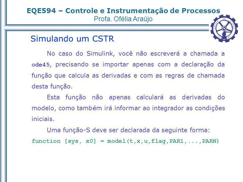 EQE594 – Controle e Instrumentação de Processos Profa. Ofélia Araújo Simulando um CSTR No caso do Simulink, você não escreverá a chamada a ode45, prec
