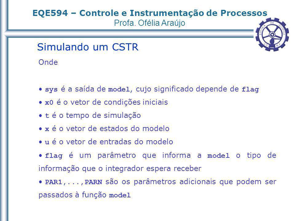 EQE594 – Controle e Instrumentação de Processos Profa. Ofélia Araújo Simulando um CSTR Onde sys é a saída de model, cujo significado depende de flag x