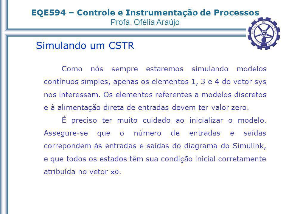 EQE594 – Controle e Instrumentação de Processos Profa. Ofélia Araújo Simulando um CSTR Como nós sempre estaremos simulando modelos contínuos simples,