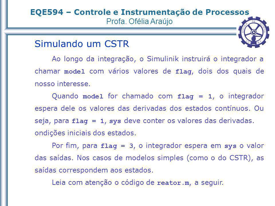 EQE594 – Controle e Instrumentação de Processos Profa. Ofélia Araújo Simulando um CSTR Ao longo da integração, o Simulinik instruirá o integrador a ch