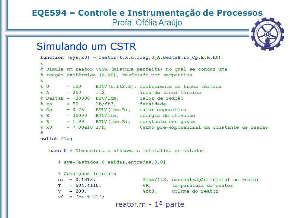 EQE594 – Controle e Instrumentação de Processos Profa. Ofélia Araújo Simulando um CSTR function [sys,x0] = reator(t,x,u,flag,U,A,DeltaH,ro,Cp,E,R,k0)