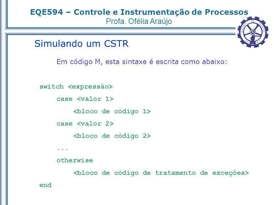 EQE594 – Controle e Instrumentação de Processos Profa. Ofélia Araújo Simulando um CSTR Em código M, esta sintaxe é escrita como abaixo: switch case ca