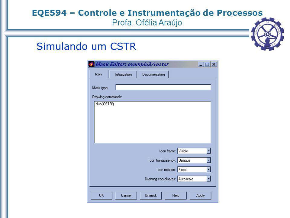 EQE594 – Controle e Instrumentação de Processos Profa. Ofélia Araújo Simulando um CSTR